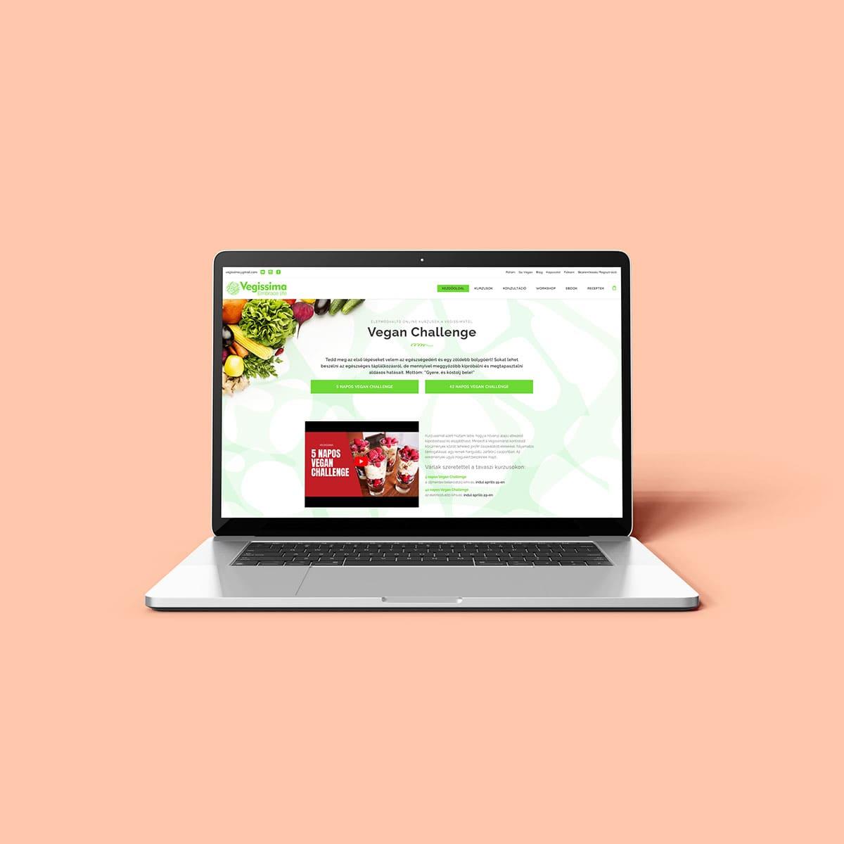 Vegissima WordPress weboldal kurzuskezelővel és webáruház funkcióval